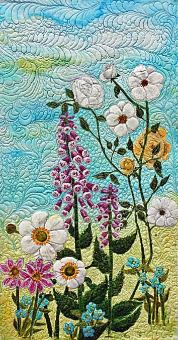 """""""An English Garden"""" Barbara Harms Fiber Art"""