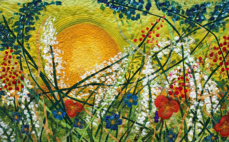"""""""Everything Under the Sun"""" hand painted silk art quilt Barbara Harms"""