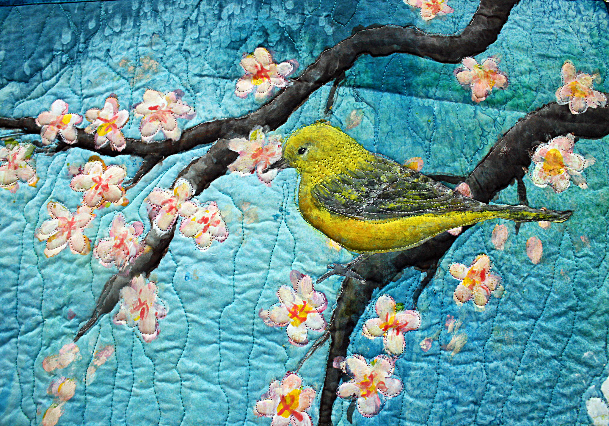"Original art quilt hand painted silk ""Under the cherry Tree ... : quilting artists - Adamdwight.com"