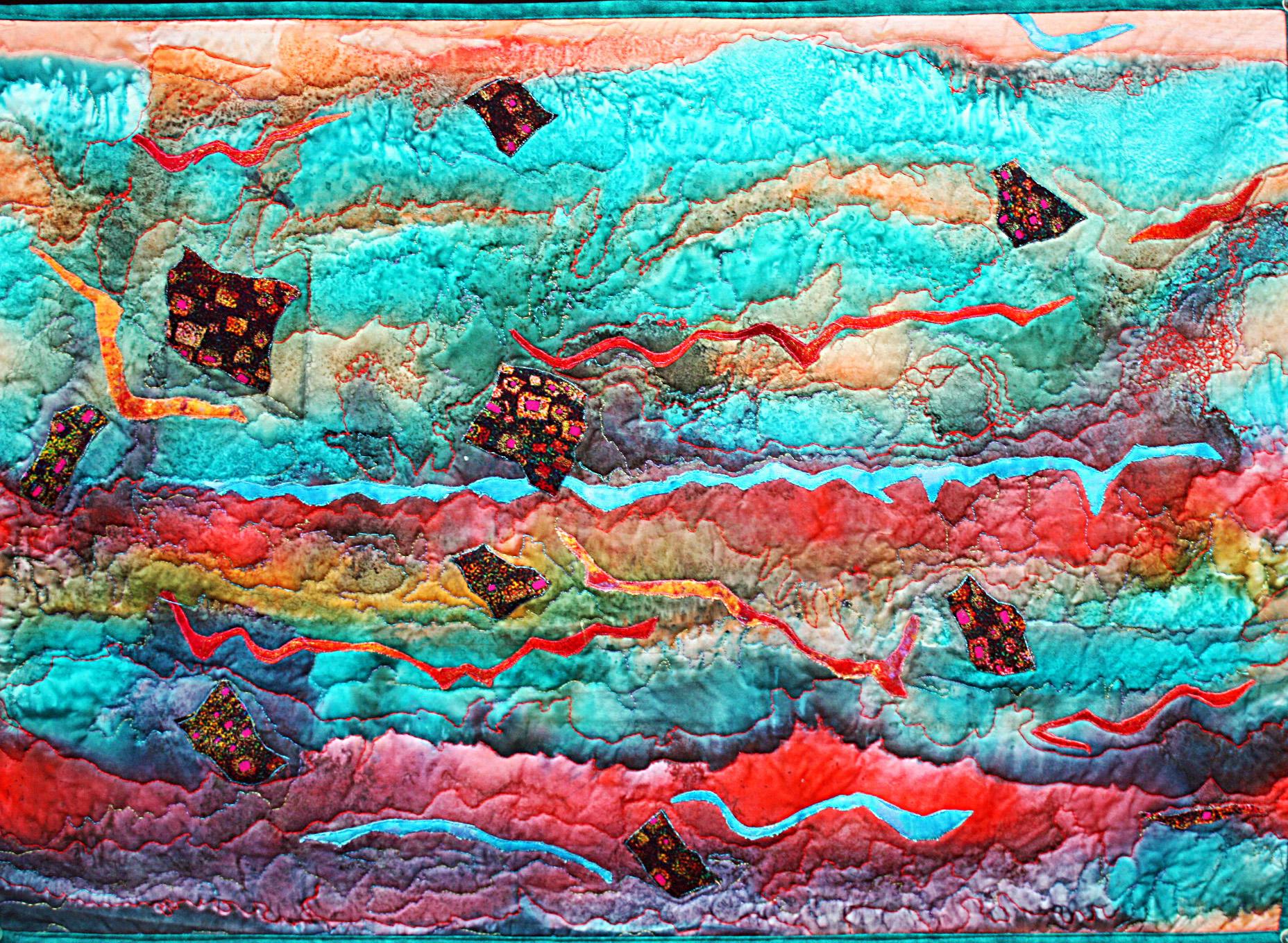 Dramatic silk art quilt abstract storm – Barbara Harms Fiber Art : quilting artist - Adamdwight.com