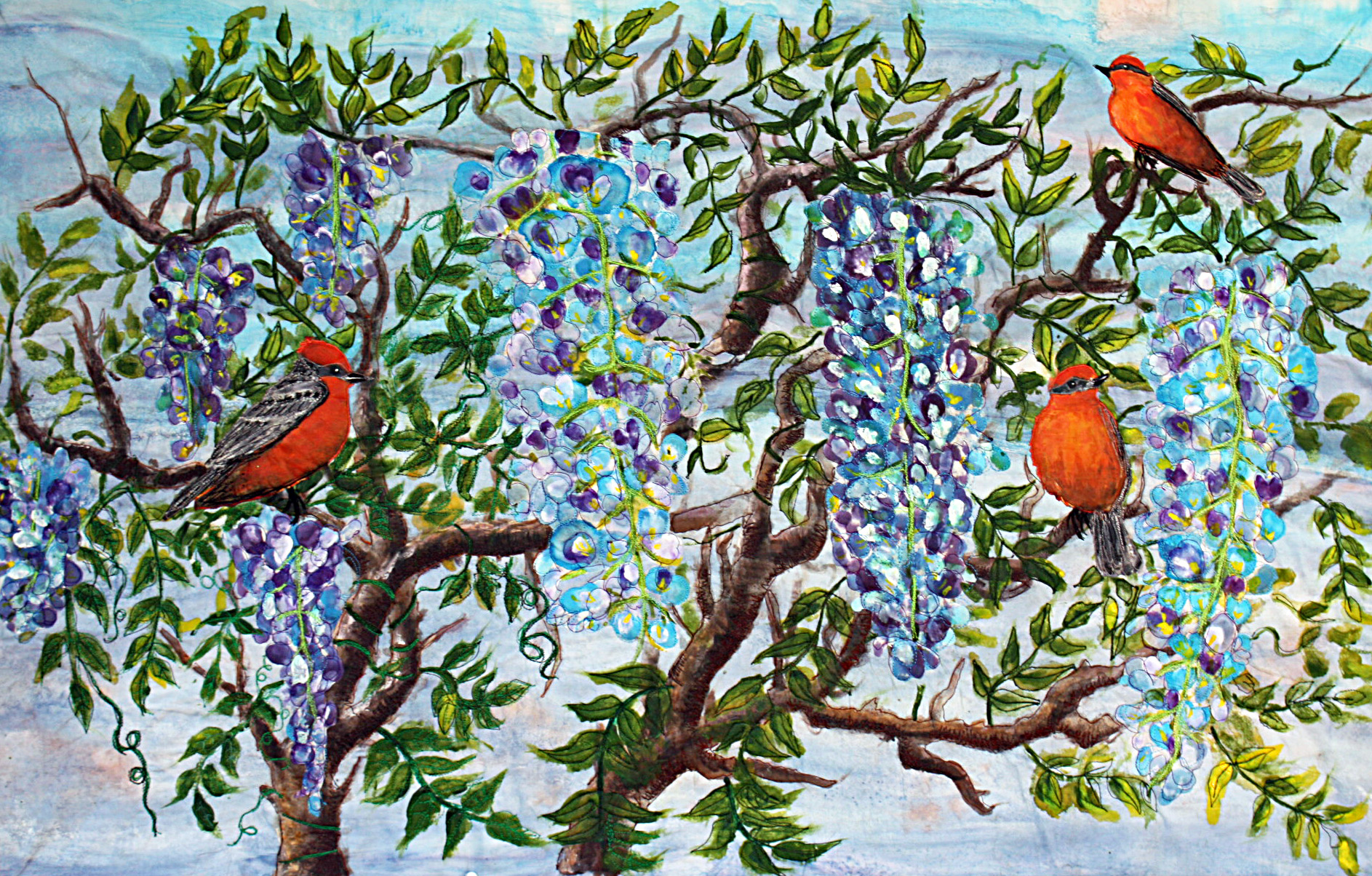 Wisteria With Red Birds