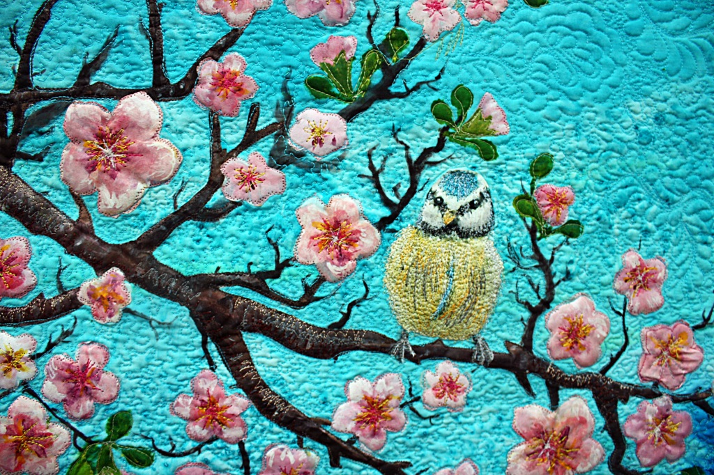 SOLD-Cherry Blossoms and Two Birds-hand painted silk art quilt