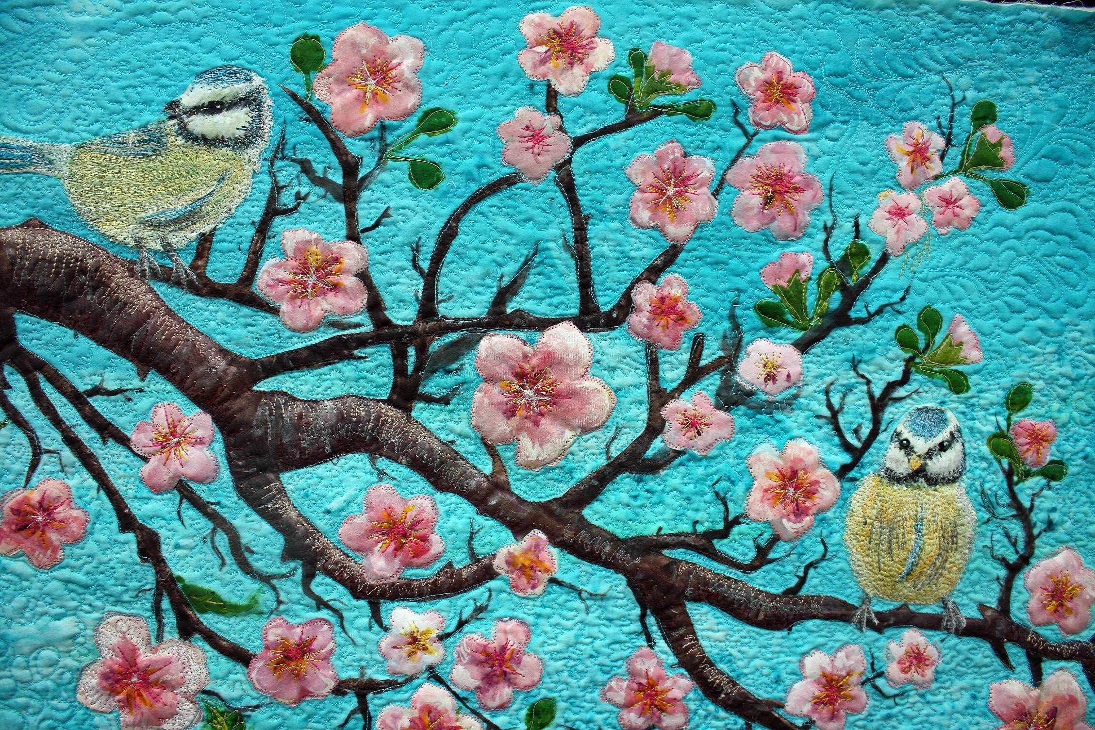 SOLD-Cherry Blossoms and Two Birds-hand painted silk art quilt ... : quilting artists - Adamdwight.com