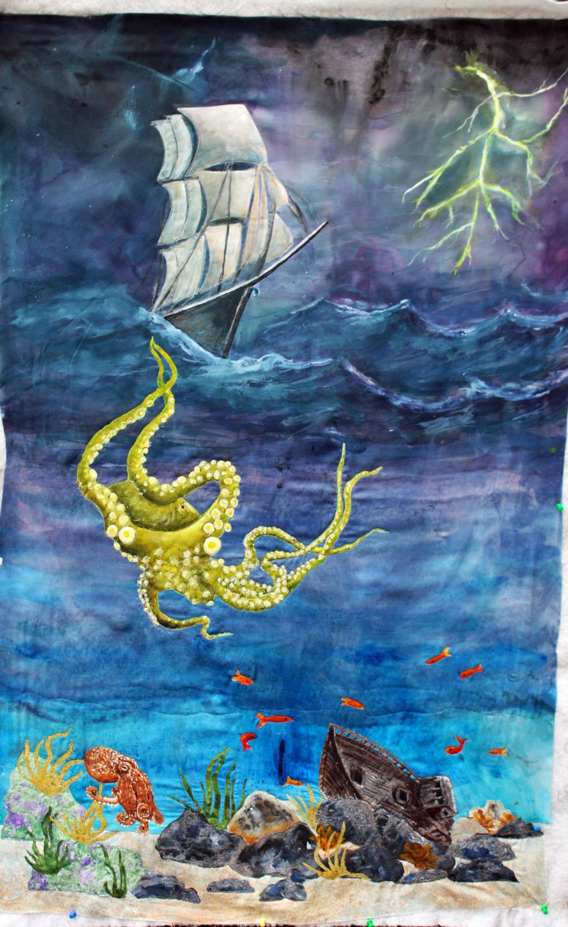 Follow Up on The Kraken art quilt – BARBARA HARMS FIBER ART
