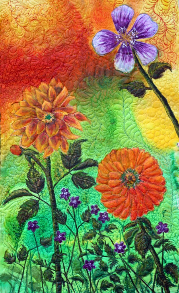 A modern art quilt, Techniques used; silk painting, applique`, threadpainting and quilting