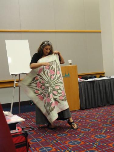 Karen McTavish showing her quilt.
