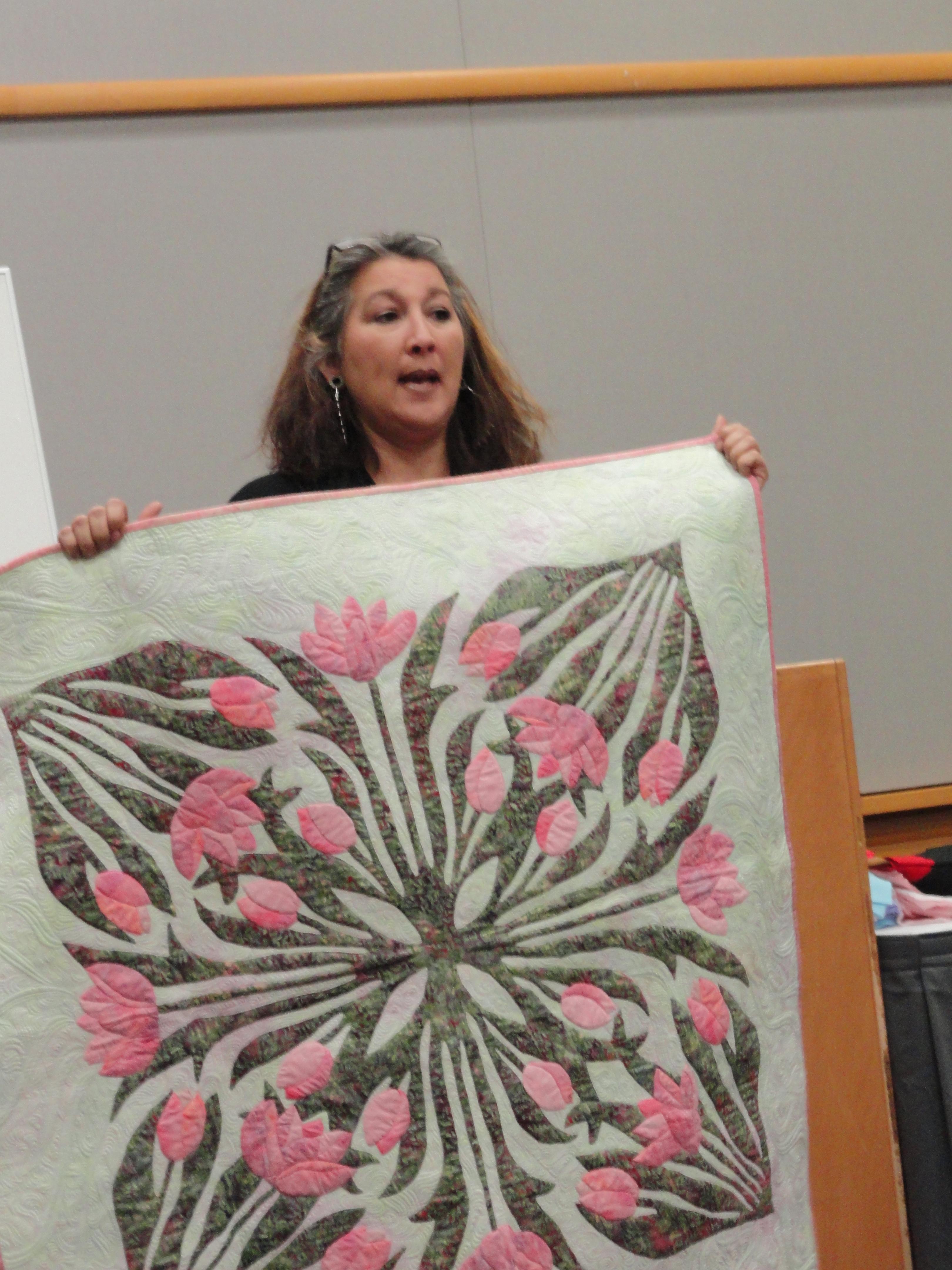 Karen McTavish Quilting class, MQX West. machine quiting, McTavishing, asian art and quilts. Barbara Harms Fiber Art