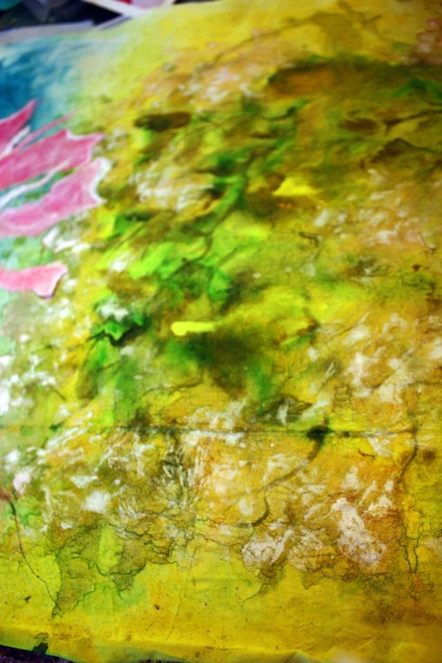 hand painted silk for an artquilt