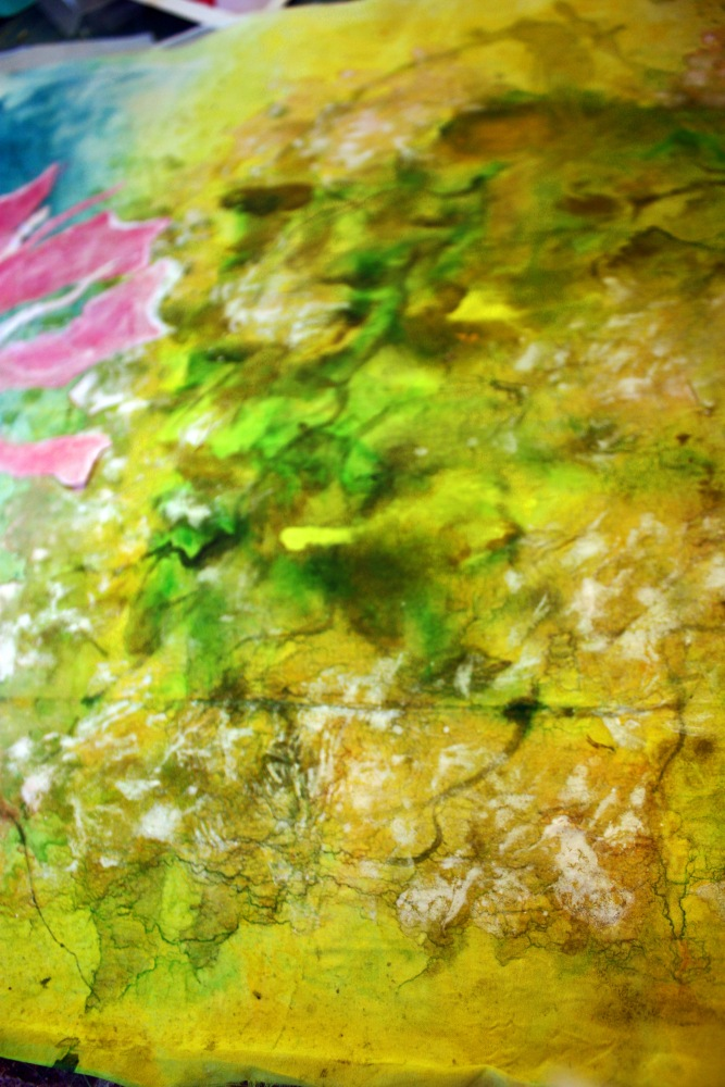 hand painted silk for an artquilt