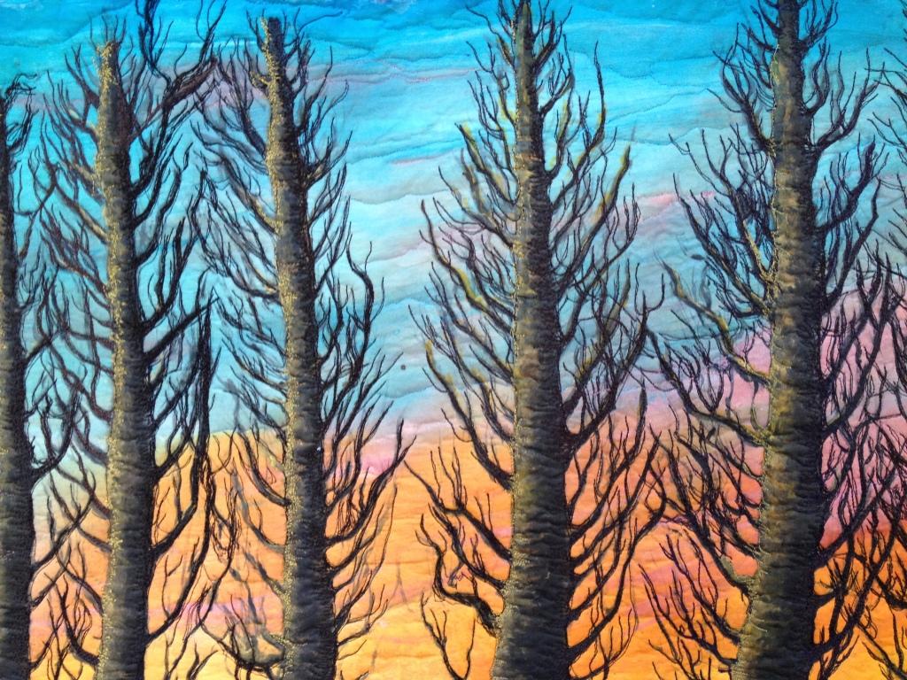 69 MPH Sunset, an art quilt