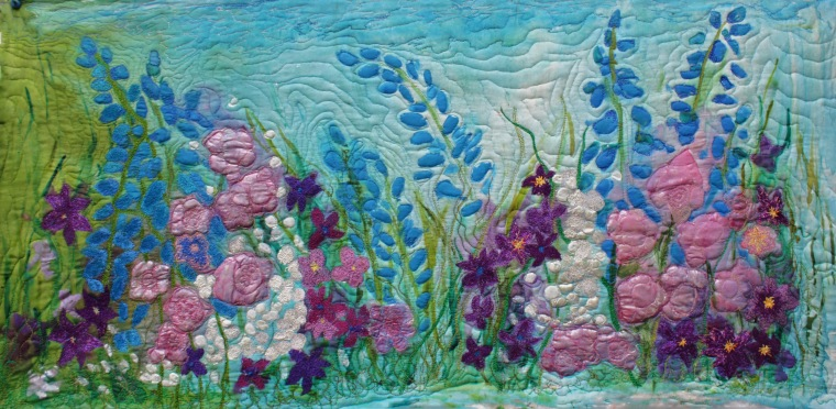 Hand painted silk art quilt with thread painting/