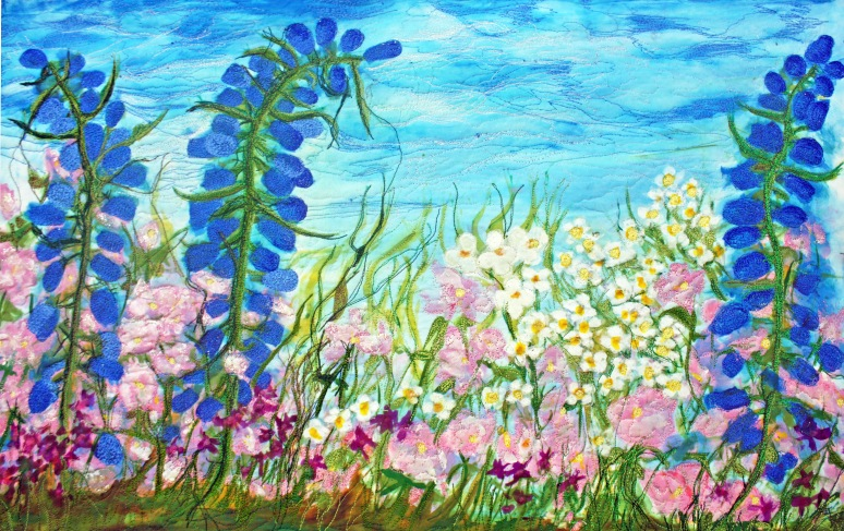 Pink, Blue And White Flowers With Big Sky- available for sale