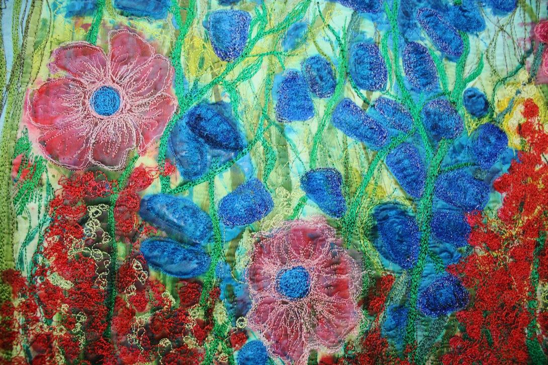Orange and Blue flower details
