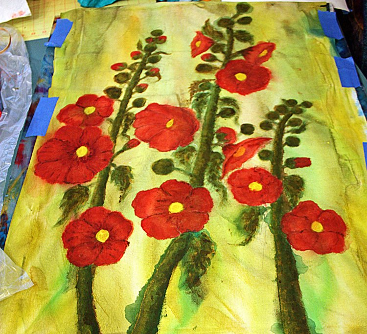 hollyhock quilt progress 003