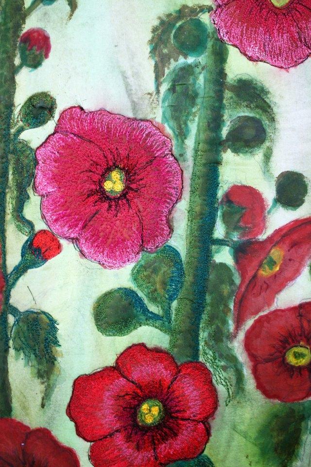 Barbara Harms fiber arthollyhock quilt progress 024