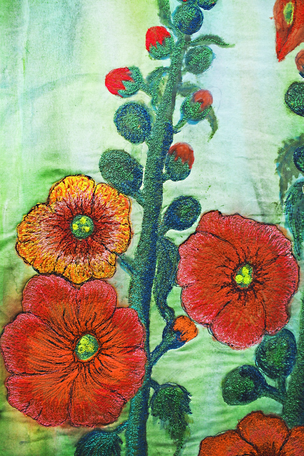 "Barbara Harms Fiber Art ""HollyHocks"" detail from the fiber art"