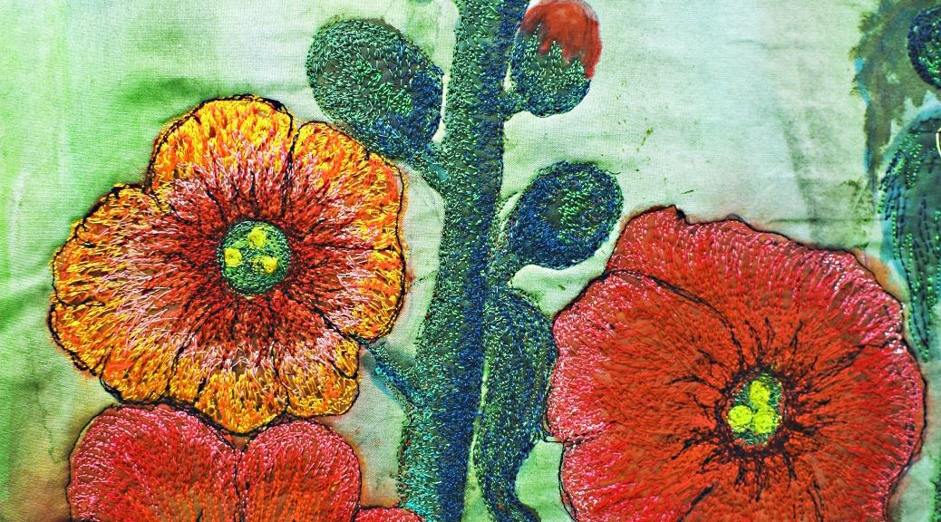"""Barbara Harms Fiber Art """"HollyHocks"""" detail from the fiber art"""