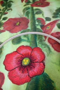 hollyhocks, hollyhock quilt 020