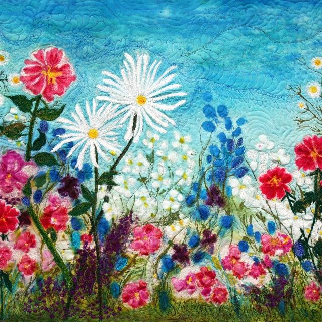 Barbara Harms Fiber Arttwo daisies