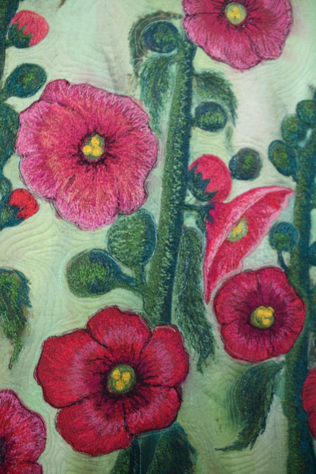 "Barbara Harms Fiber Art ""Hollyhocks>? It must be summer"""