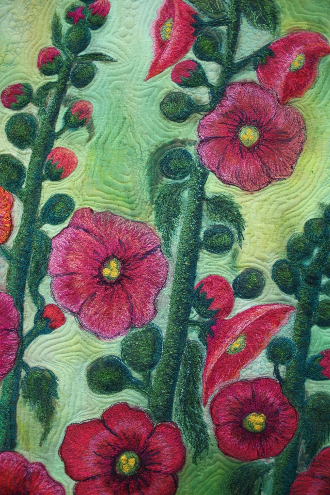 Barbara Harms Fiber Art asianartandquilts.com holly hocks