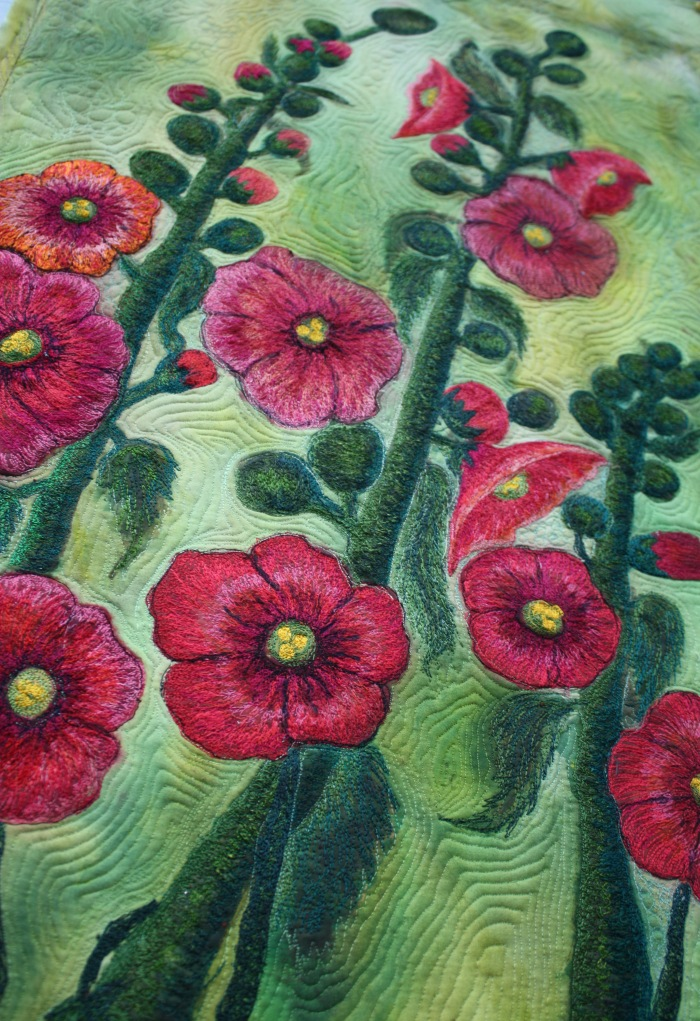 Barbara Harms Fiber Art asianartandquilt.com hollyhocks