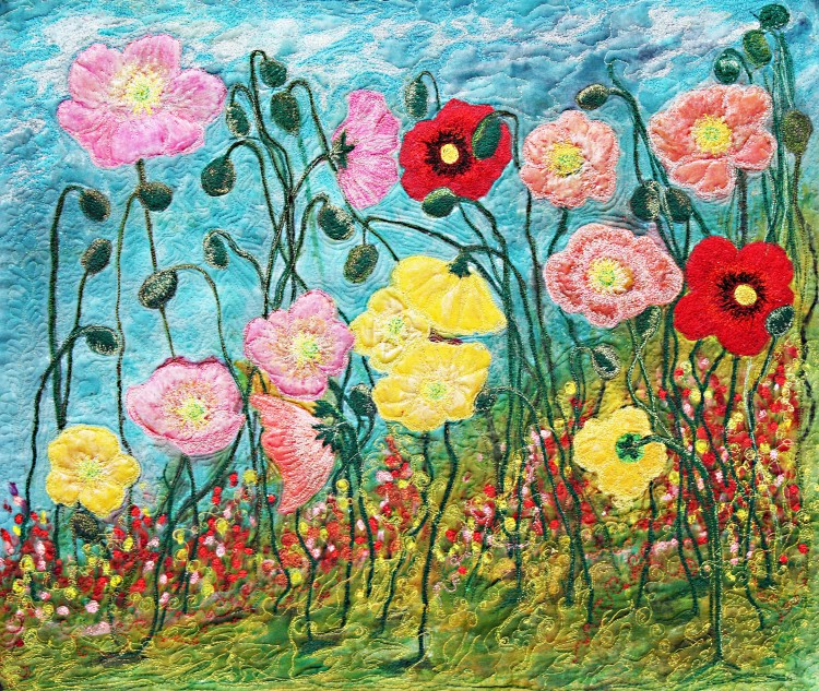 Barbara Harms Fiber Art Two Poppies
