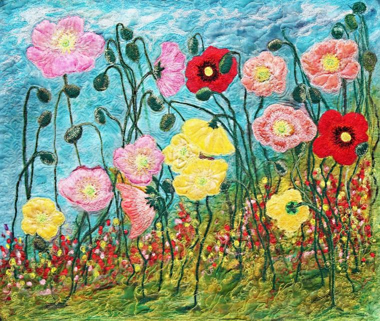 Barbara Harms Fiber Art Two Poppies