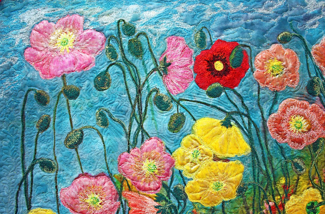 Barbara Harms Fiber Art Poppy