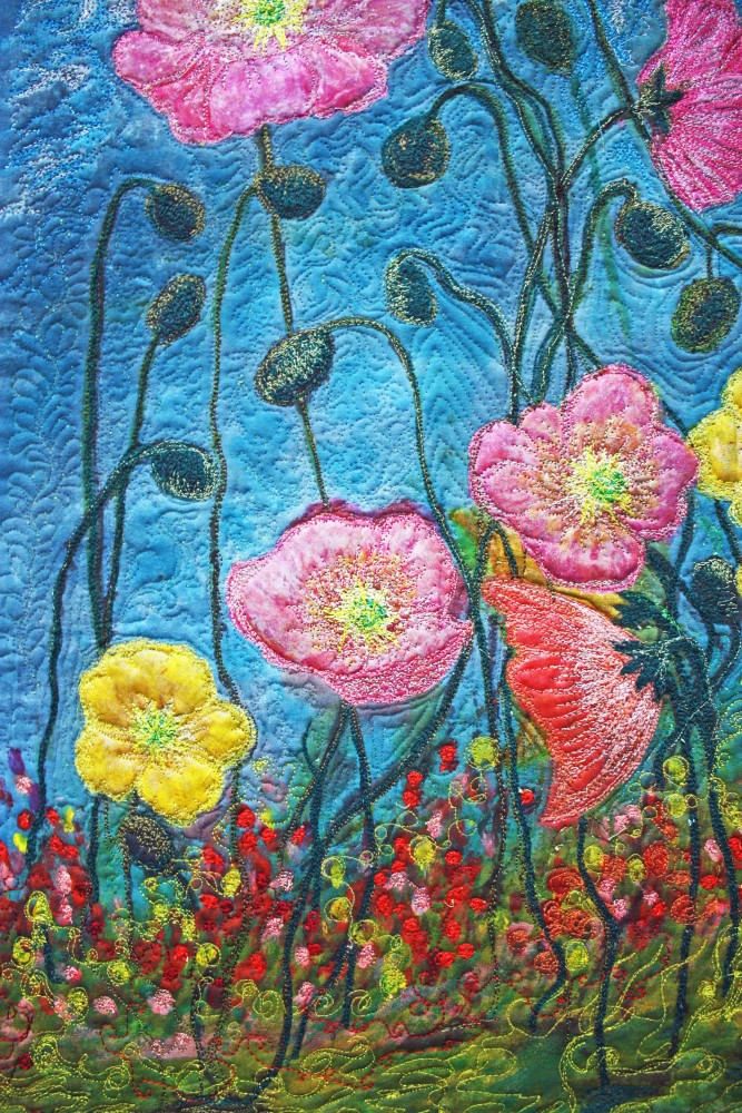Barbara Harms Fiber Art Poppy art quilt 019 copy