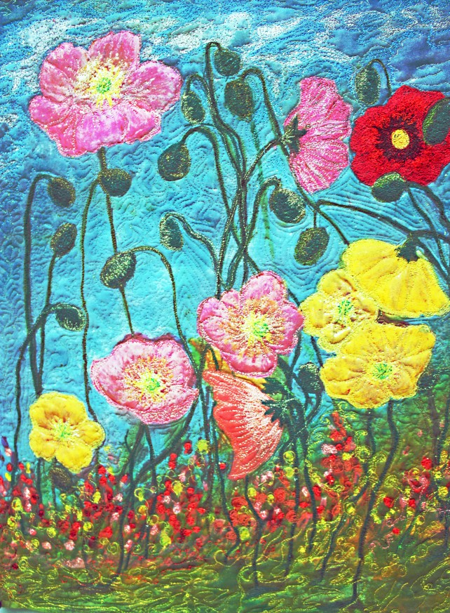 Barbara Harms Fiber Art Two Poppies  020