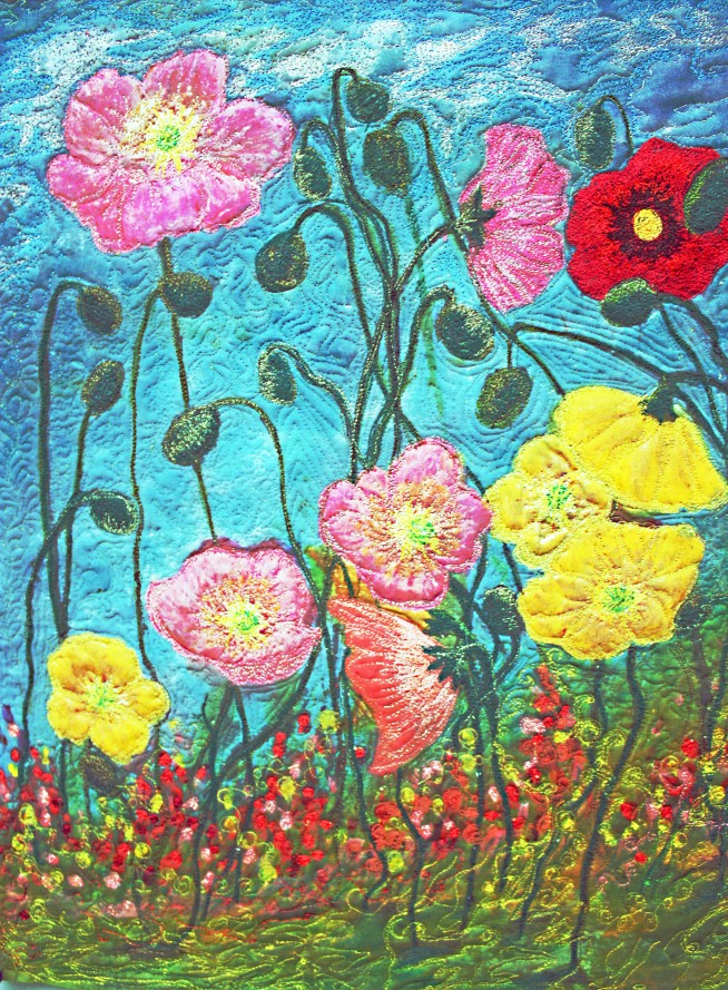 Barbara Harms Fiber Art Poppy art quilt 020 copy