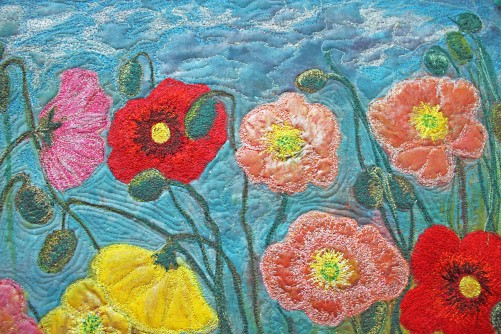 Barbara Harms Fiber Art Poppy art quilt 024 copy