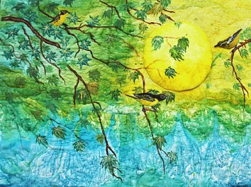 Silk painted art quilts, beaiutiful yellow and black birds with moon behing. Moon Song