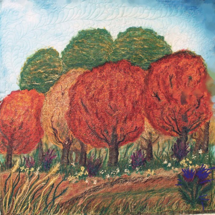 Whole view landscape art quilt Autumn scene copy