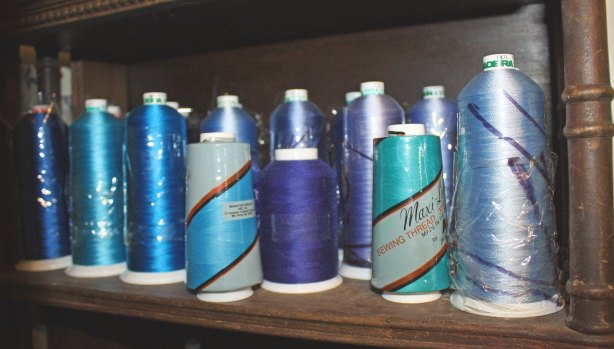 Blue cones of thread for art quilts