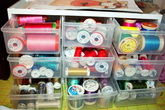 Drawers of thread used for art quilts