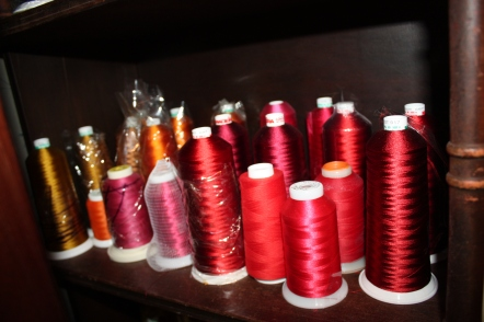 Red thread used in art quilting