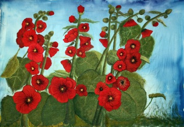 Red Hollyhock fiber art quilt update