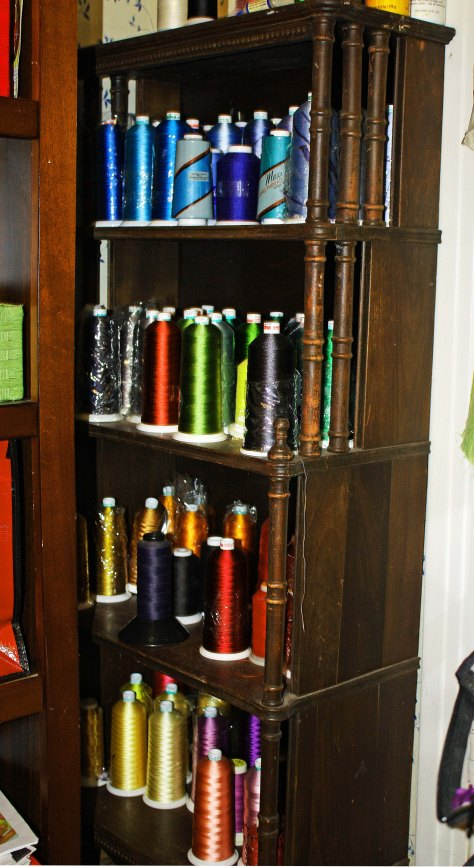 thread cshelf with variety for making art quilts