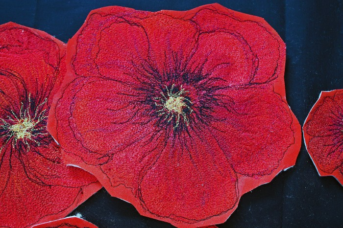 THREAD PAINTED HOLLYHOCK 1