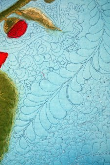 Barbara Harms Fiber Art a fiber art quilt with thread painted hollyhocks