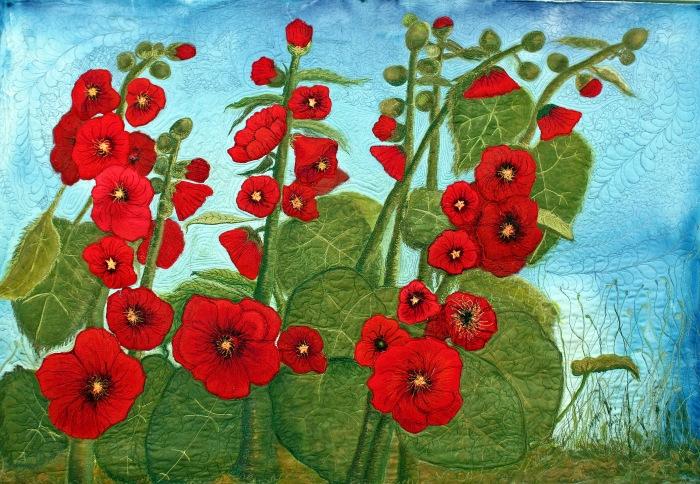 Barbara Harms Fiber Art holly hock art quilt