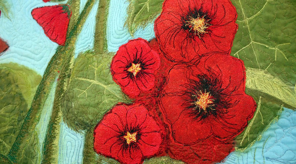 Barbara Harms Fiber Art red holly hocks art quilt