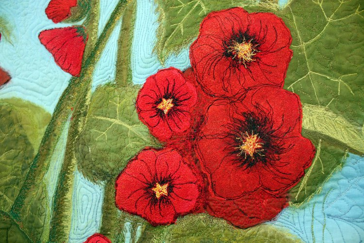 Barbara Harms Fiber Art red holly hocks art quilt