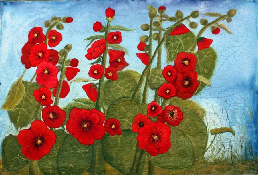 BarbaraHarmsFiber Art Red Hollyhock Quilt