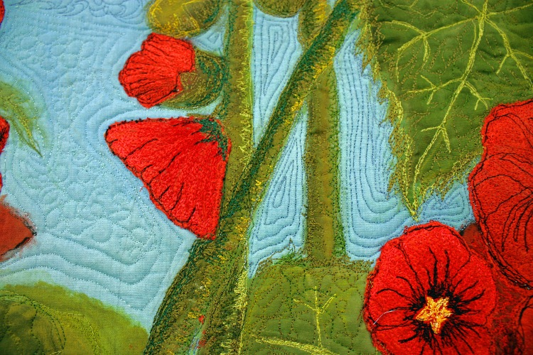 Barbara Harms Fiber Art a art quilt A Bug's