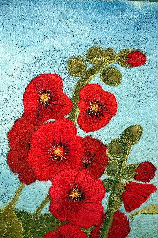 Barbara Harms Fiber Art finished red hollyhock quilt top