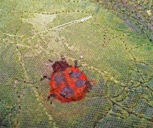 IMG_Ladybug quilt, landscape quilt, lady bug, hollyhock quilt