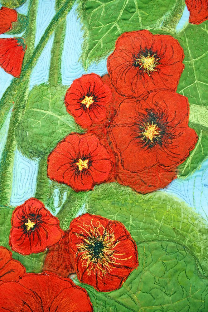 Barbara Harms Fiber Art contemporary floral art quilt